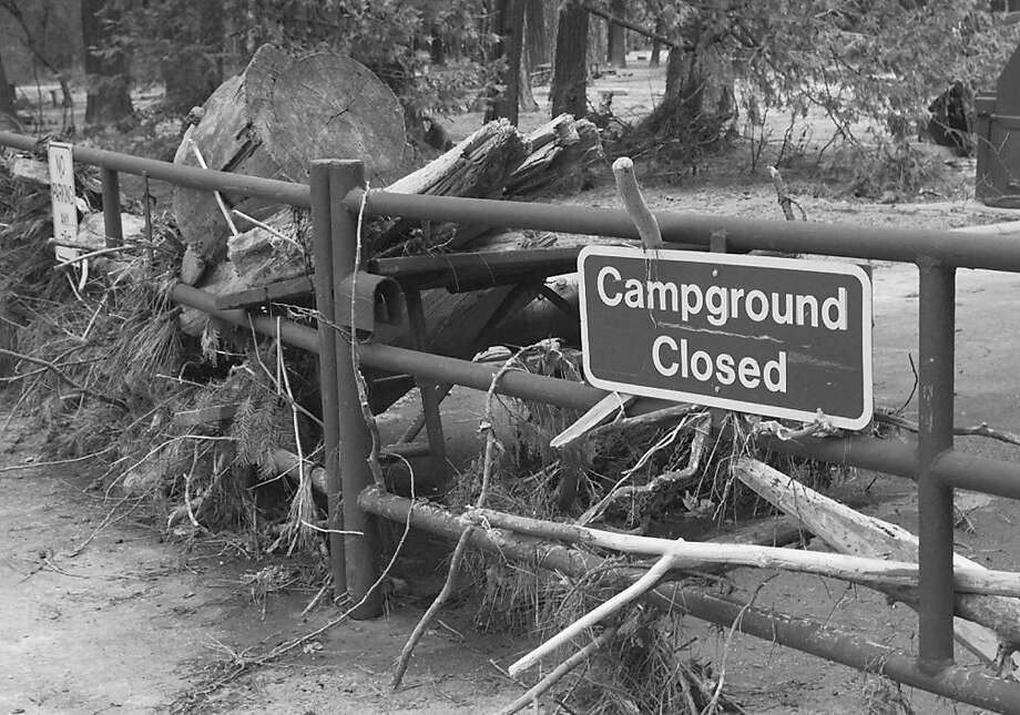 The entrance to Yosemite's Upper River Campgrounds collected debris during a New Year's Day flood in 1996. Photo: Michael Macor