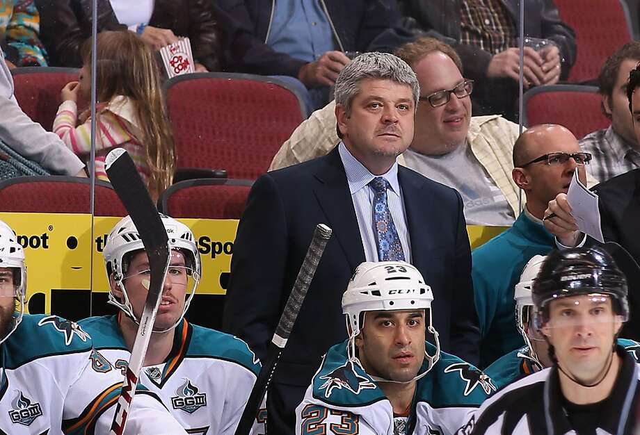 GLENDALE, AZ - APRIL 15:  Head coach Todd McLellan of the San Jose Sharks watches from the bench during the NHL game against the Phoenix Coyotes at Jobing.com Arena on April 15, 2013 in Glendale, Arizona. The Sharks defeated the Coyotes 4-0.  (Photo by Christian Petersen/Getty Images) Photo: Christian Petersen, Getty Images