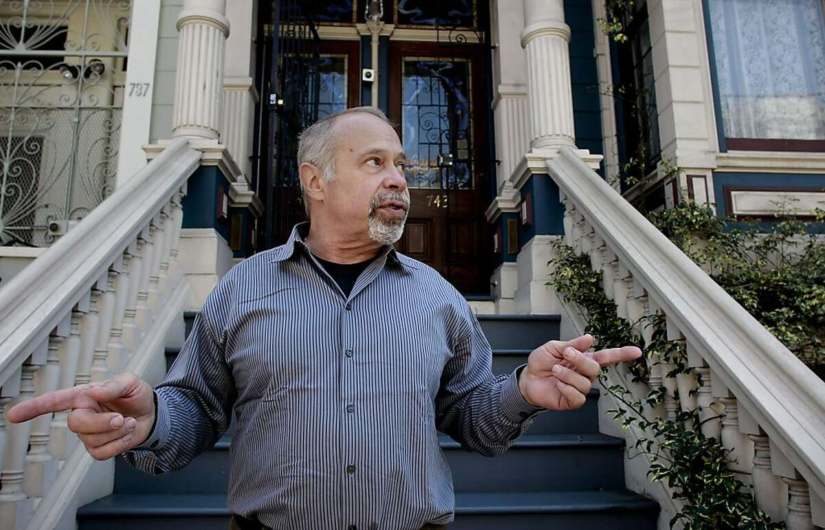 Homeowner Bernard Schweigert, in front of his home along Oak Street in San Francisco, Calif., on Friday April 26, 2013. Informed by the City of San Francisco that he is responsible for the maintenance of the trees in front of his home, Schweigert had the trees