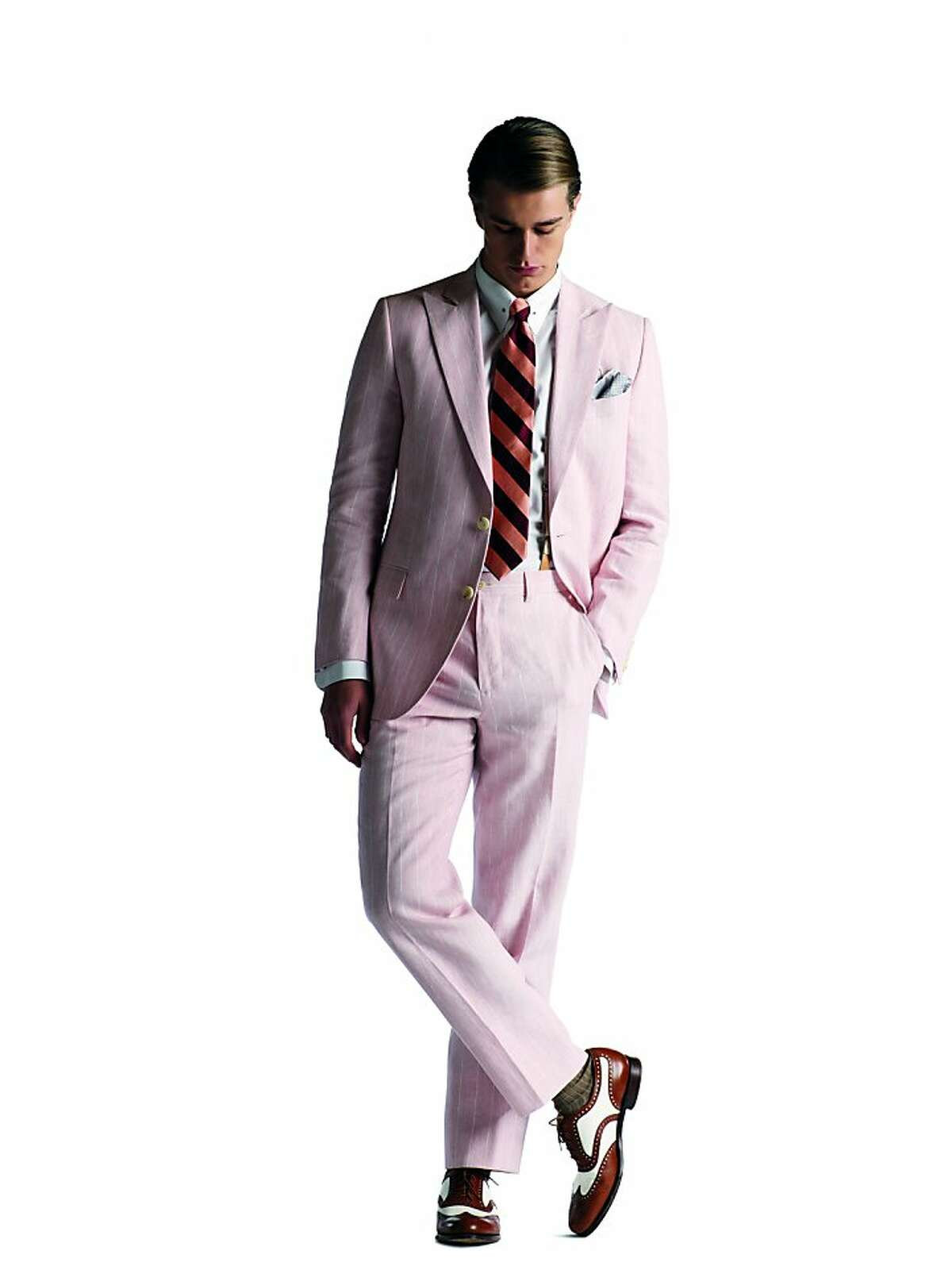 Gatsby's pink suit with a subtle white pinstripe is the menswear piece de resistance of the film.