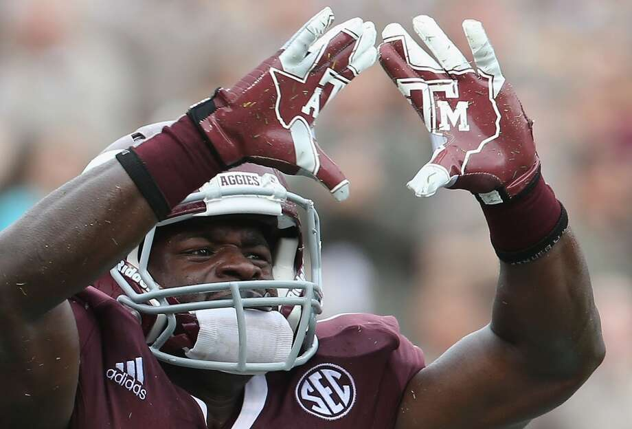 Christine Michael (33) of the Texas A&M Aggies celebrates his touchdown run against the Arkansas Razorbacks at Kyle Field in College Station, Texas, on Sept. 29, 2012.