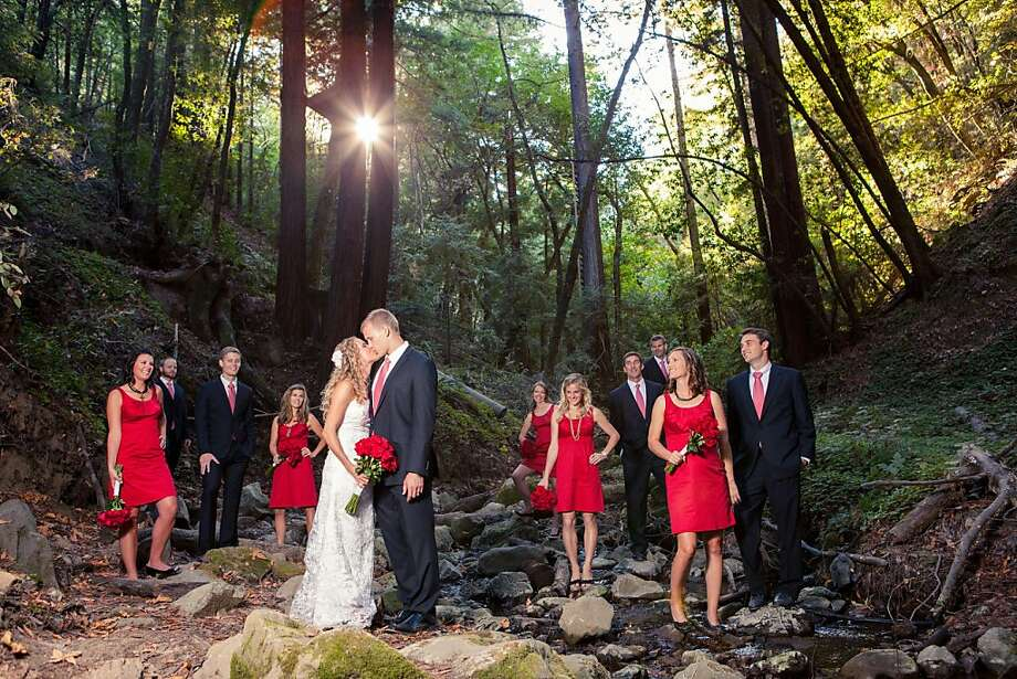 Jessica Howard and Jordan Troester wed at a campground in Mendocino County with bridesmaids in Target dresses and food from Safeway. The fun was plentiful and priceless. Photo: Heatherscharfphotography.com