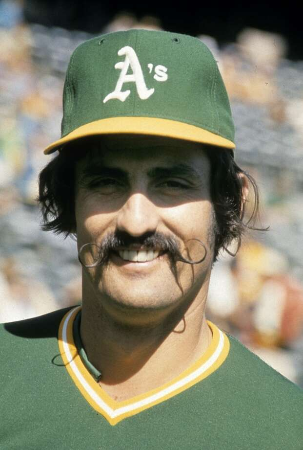 Pitcher Rollie Fingers #34 of the Oakland Athletics smiles for the camera before a circa early 1970's Major League Baseball game at the Oakland Coliseum in Oakland, California. Fingers played for the Athletics from 1968-76.
