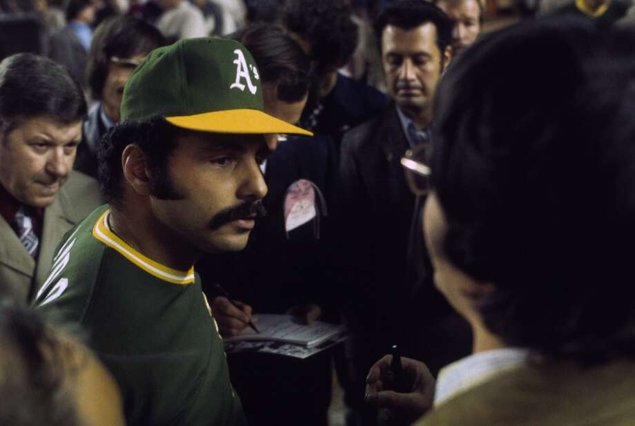 Sal Bando of the Oakland Athletics talks to the fans during the World Series against the New York Mets at Shea Stadium in Flushing, New York in October of 1973.