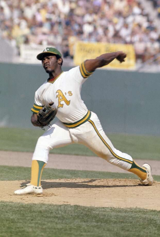 Pitcher Vida Blue #35 of the Oakland Athletics pitches during a circa early 1970's Major League Baseball game at the Oakland Coliseum in Oakland, California. Blue played for the Athletics from 1969-77.