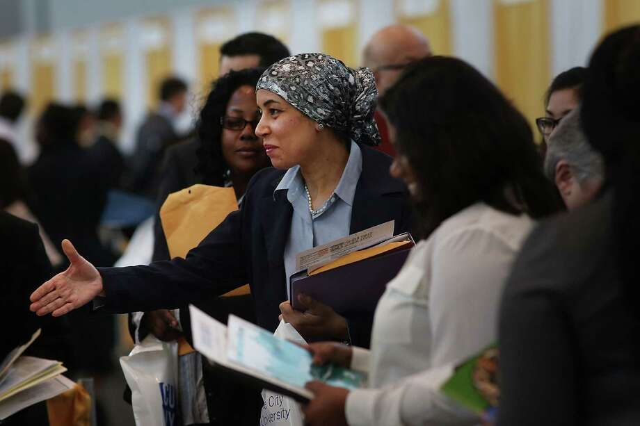NEW YORK, NY - APRIL 26:  Job seekers  meet with employers at the 25th Annual CUNY big Apple Job and Internship Fair at the Jacob Javits Convention Center on April 26, 2013 in New York City. The unemployment rate for Americans ages 16-24 is currently 16.2 percent, which is more than double the national rate of unemployment.  (Photo by Spencer Platt/Getty Images) Photo: Spencer Platt