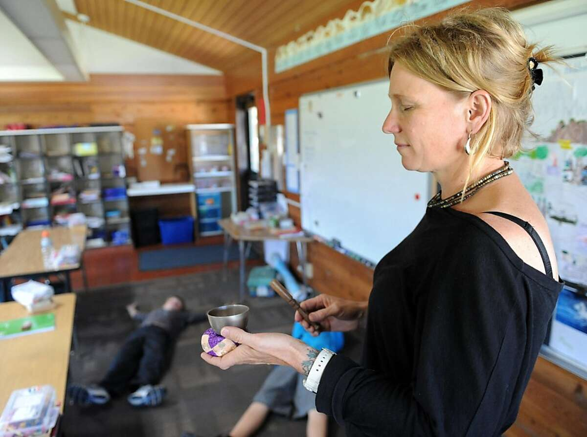 Lynn Cheatham runs a class on mindfulness for students at the Bolinas School in Bolinas on March 22, 2013. The class is part of an anti-bullying program other schools across the Bay Area have adopted in the past year and is meant to teach students mindfulness or empathy for their classmates.