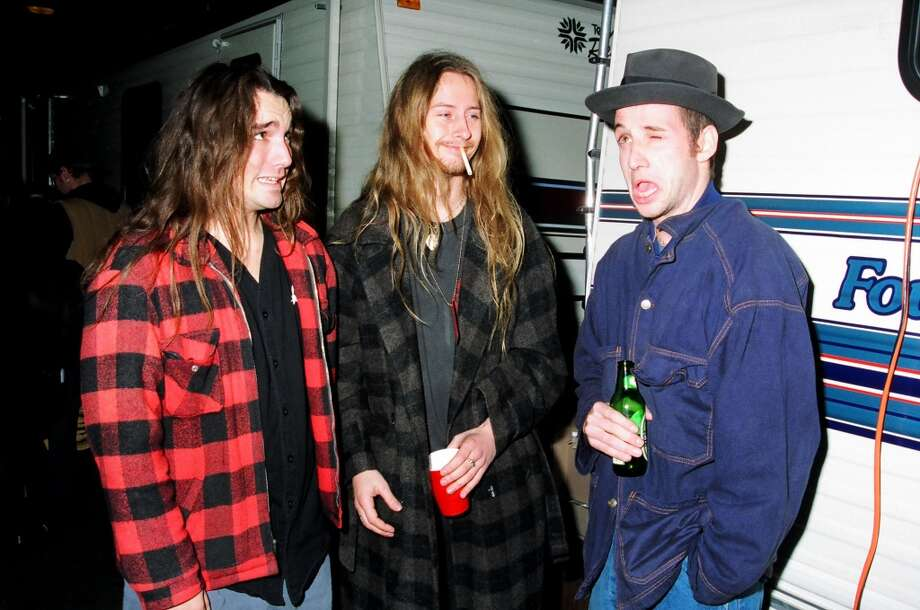 Flannel as a uniform back in 1993: Dave Abbruzzese of Pearl Jam (left), Jerry Cantrell of Alice in Chains (center), and Stone Gossard of Pearl Jam.
