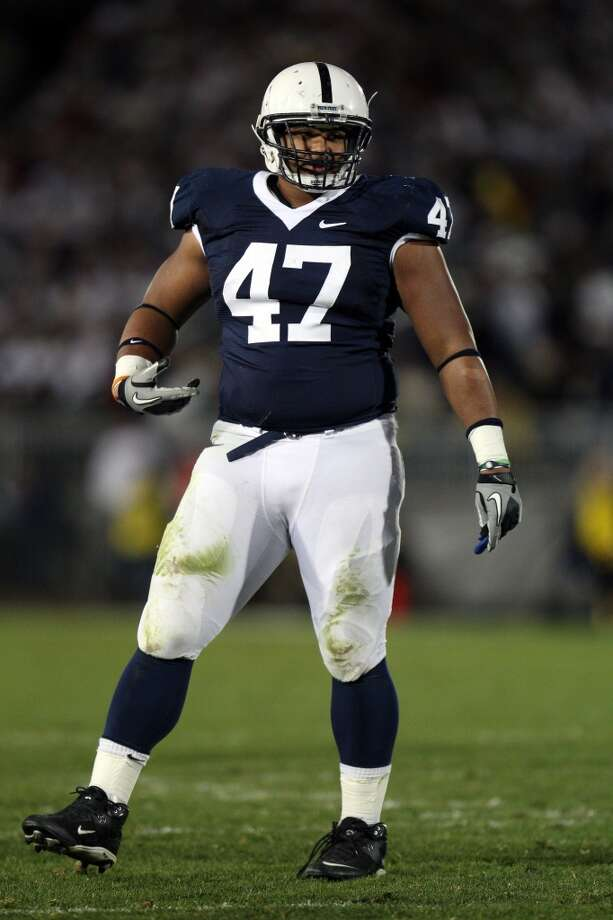 Defensive lineman Jordan Hill (47) of the Penn State Nittany Lions defends against the University of Michigan Wolverines at Beaver Stadium in State College, Pa., on Oct. 30, 2010. Penn State won 41-31.