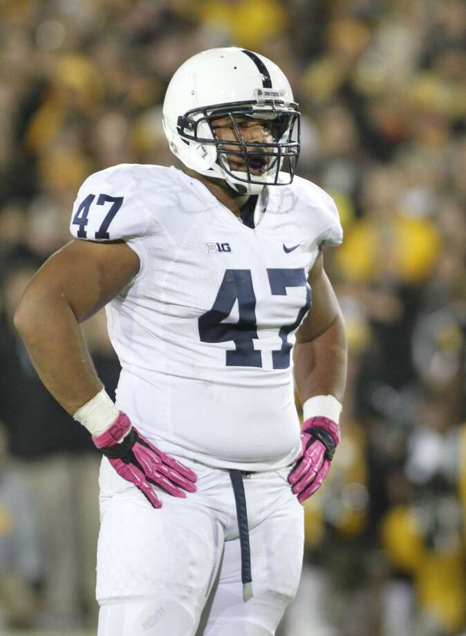 Defensive tackle Jordan Hill (47) of the Penn State Nittany Lions during a break in the action in the first quarter against the Iowa Hawkeyes on Oct. 20, 2012 at Kinnick Stadium in Iowa City, Iowa. Penn State defeated Iowa 38-14.