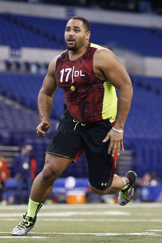 Jordan Hill of Penn State in action during the 2013 NFL Combine at Lucas Oil Stadium in Indianapolis on Feb. 25, 2013.