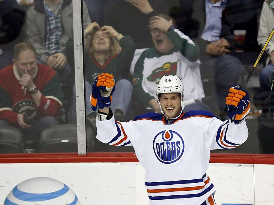 To the dismay of Wild fans, the Edmonton's Corey Potter celebrates his second goal of the first period in St. Paul. Photo: David Joles, McClatchy-Tribune News Service