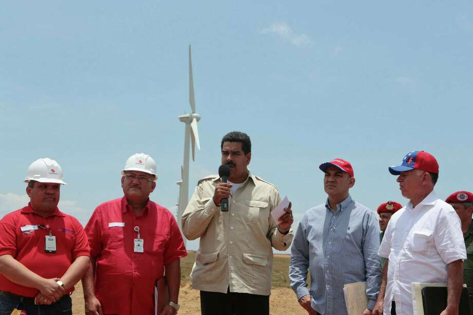 Venezuelan President Nicolas Maduro gives a speech at a wind farm in the border state of Zulia.