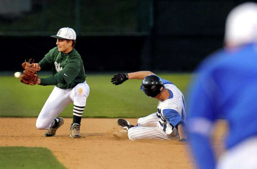 Shenendehowa's Matt Drum, left, makes the catch as Shaker's Tyler Oppelt slides safely into second d