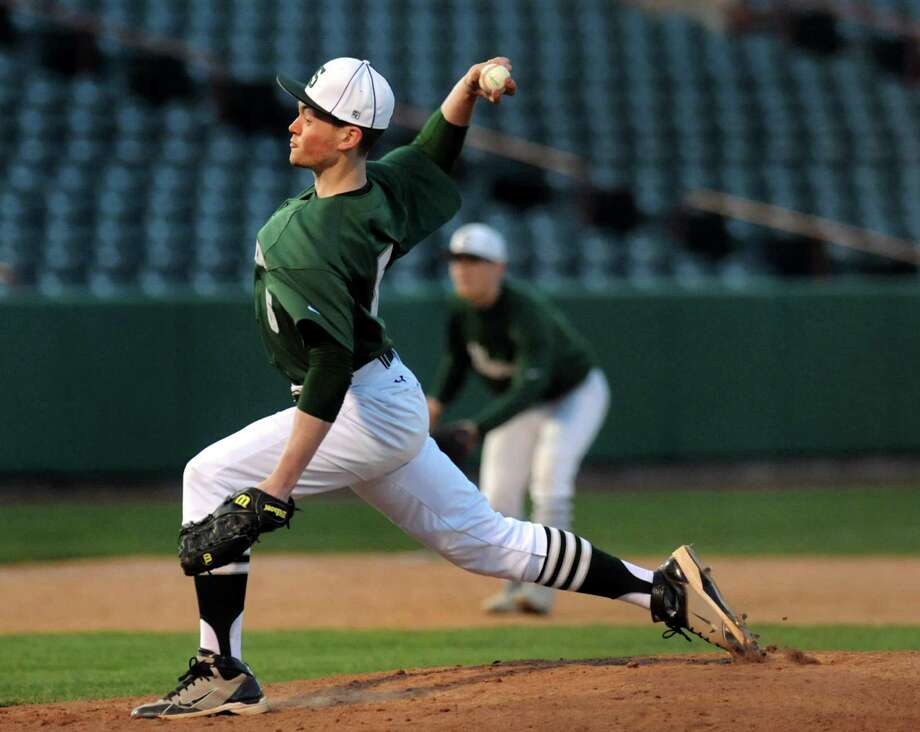 Shenendehowa's Greg Geisel winds up the pitch during their baseball game against Shaker on Friday, April 26, 2013, at Joseph L. Bruno Stadium in Troy, N.Y. (Cindy Schultz / Times Union) Photo: Cindy Schultz / 10022156A