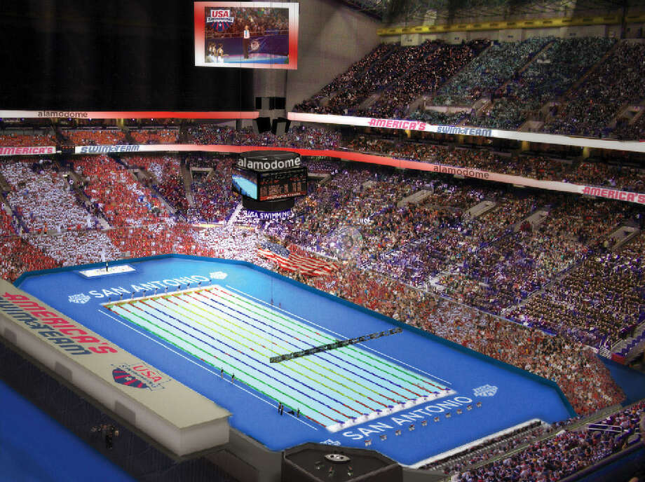 A rendering of the Alamodome's configuration for the 2016 U.S. Olympic Trials-Swimming, an eight-day event expected to pump $35 million or more into the local economy. Photo: Courtesy Illustration