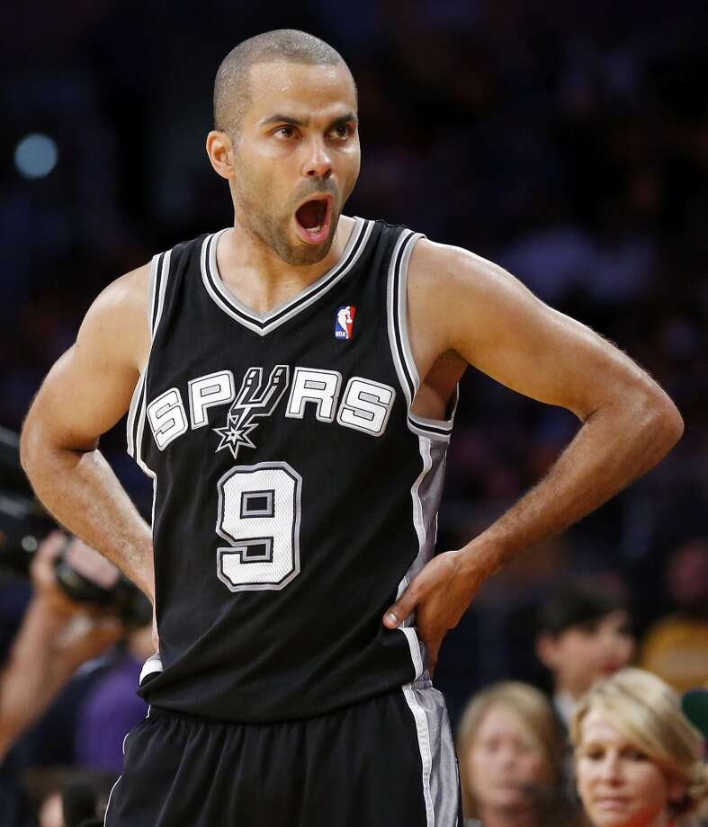 San Antonio Spurs' Tony Parker reacts after being injured during first half action of game 3 in the first round of the NBA Playoffs against the Los Angeles Lakers Friday April 26, 2013 at the Staples Center in Los Angeles, CA.