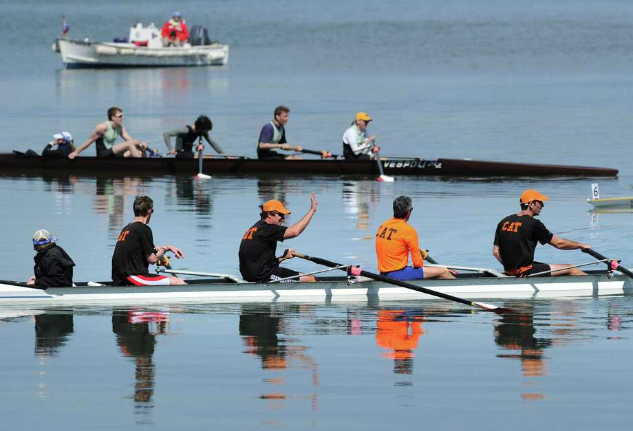 The first annual Alumni Sprints rowing competition in Greenwich Cove, Saturday morning, April 27, 2013. Photo: Bob Luckey / Greenwich Time