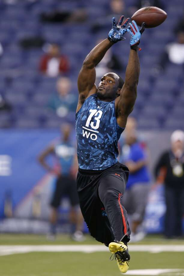 INDIANAPOLIS, IN - FEBRUARY 24: Chris Harper of Kansas State in action during the 2013 NFL Combine at Lucas Oil Stadium on February 24, 2013 in Indianapolis, Indiana. (Photo by Joe Robbins/Getty Images)