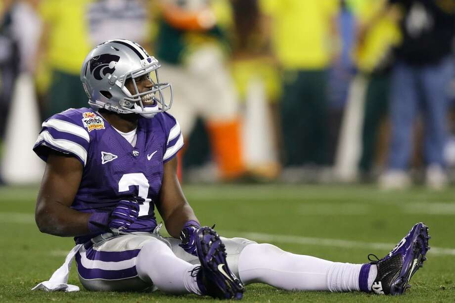 GLENDALE, AZ - JANUARY 03:  Chris Harper #3 of the Kansas State Wildcats reacts during the Tostitos Fiesta Bowl against the Oregon Ducks at University of Phoenix Stadium on January 3, 2013 in Glendale, Arizona.  (Photo by Ezra Shaw/Getty Images)