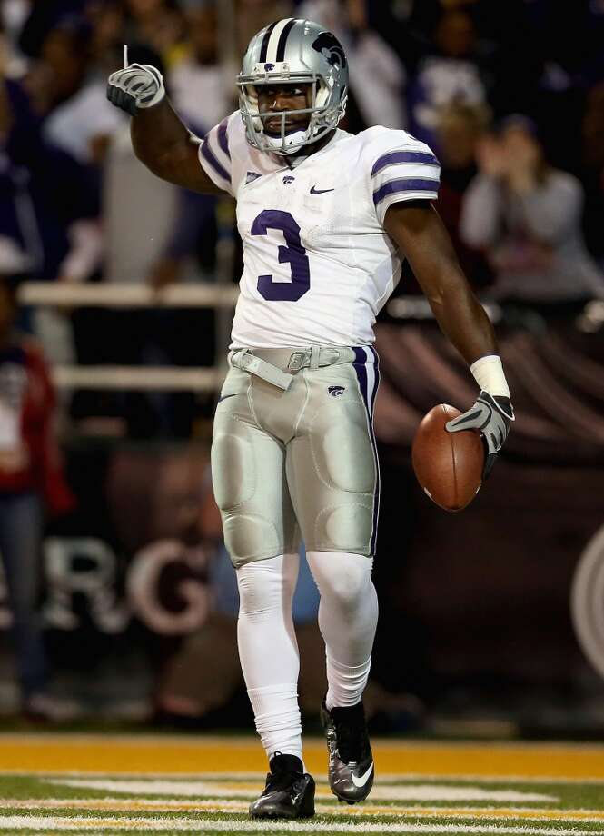 WACO, TX - NOVEMBER 17:  Chris Harper #3 of the Kansas State Wildcats celebrates a touchdown against the Baylor Bears at Floyd Casey Stadium on November 17, 2012 in Waco, Texas.  (Photo by Ronald Martinez/Getty Images)