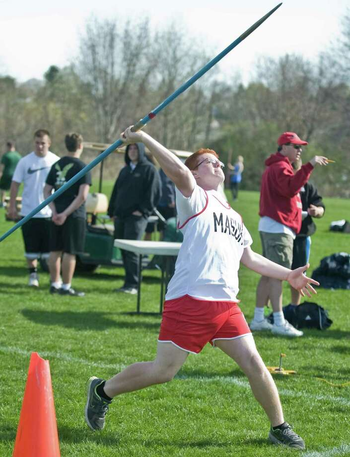 Josh Post, a senior at Masuk High School, throws the javalin at the O'Grady Relays track meet at Danbury High School. Saturday, April 27, 2013 Photo: Scott Mullin / The News-Times Freelance