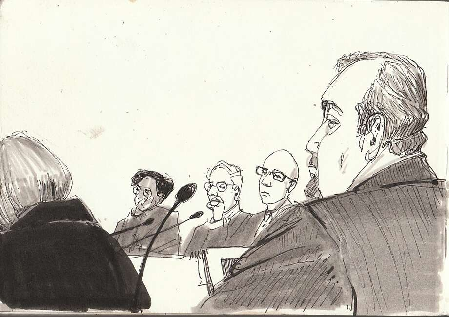 CCSF art instructor Diane Olivier's sketch of a Thursday meeting shows administrators Joanne Low (from behind, left) and Thelma Scott-Skillman, plus Bob Agrella, Rafael Mandelman and Scott Dickey. Photo: Diane Olivier