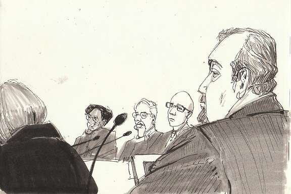 A drawing by CCSF Instructor of Drawing Diane Olivier shows the back of Vice Chancellor Joanne Low, from left, Chancellor Thelma Scott-Skillman, Special Trustee Bob Agrella, Trustee Raphael Mandelman, attorney Scott Dickey during a meeting.
