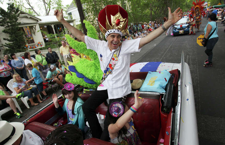 King Anchovy Charlie Gonzalez acknowledges the crowd at the King William Fair Parade on Saturday, Apr. 27, 2013. Photo: Kin Man Hui, Express-News / © 2013 San Antonio Express-News