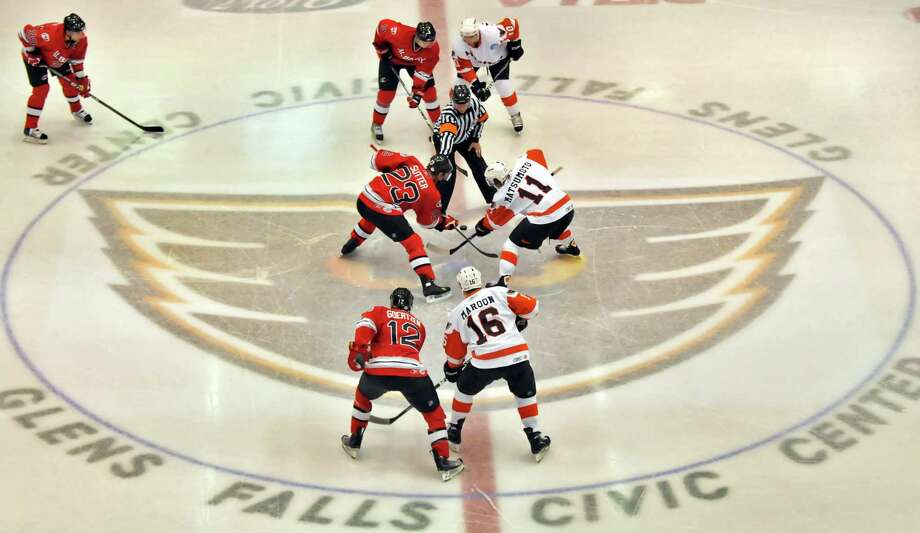 Opening face-off between the Albany River Rats and the  Adirondack Phantoms Saturday night, October 17, 2009, at the Glens Falls Civic Center in Glens Falls, N.Y. (John Carl D'Annibale / Times Union archive) Photo: John Carl D'Annibale / 00005846C