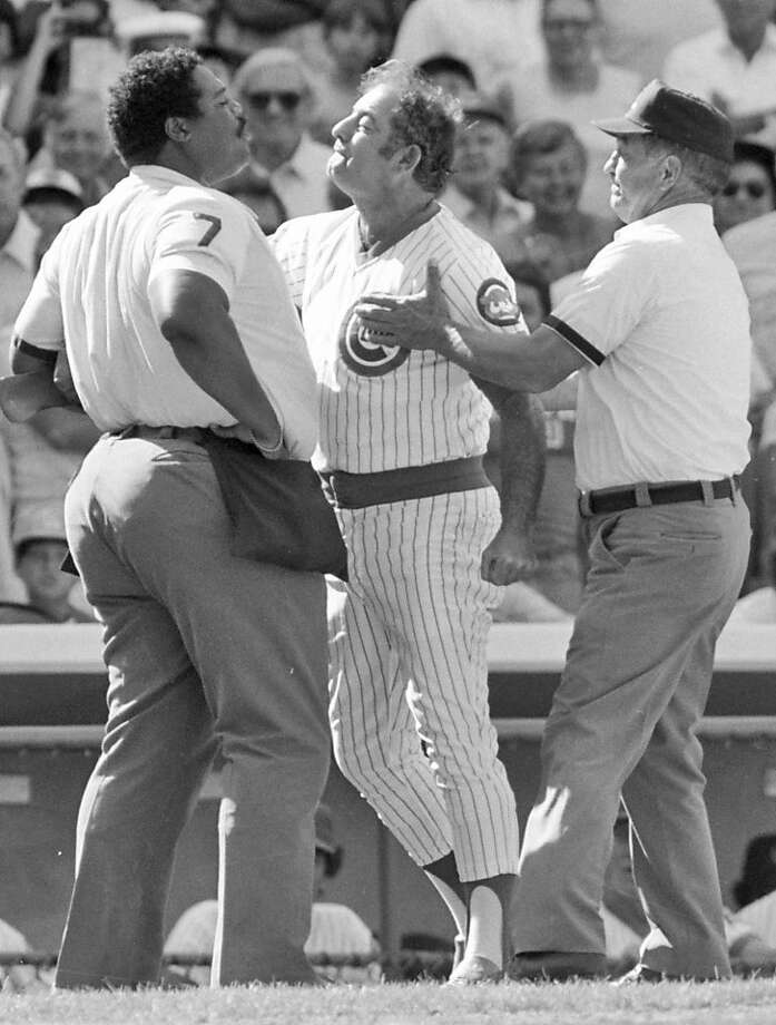 Cubs manager Lee Elia (center, with umpires Eric Gregg and Ed Vargo, right) had a mouth on him. Photo: John Swart, AP