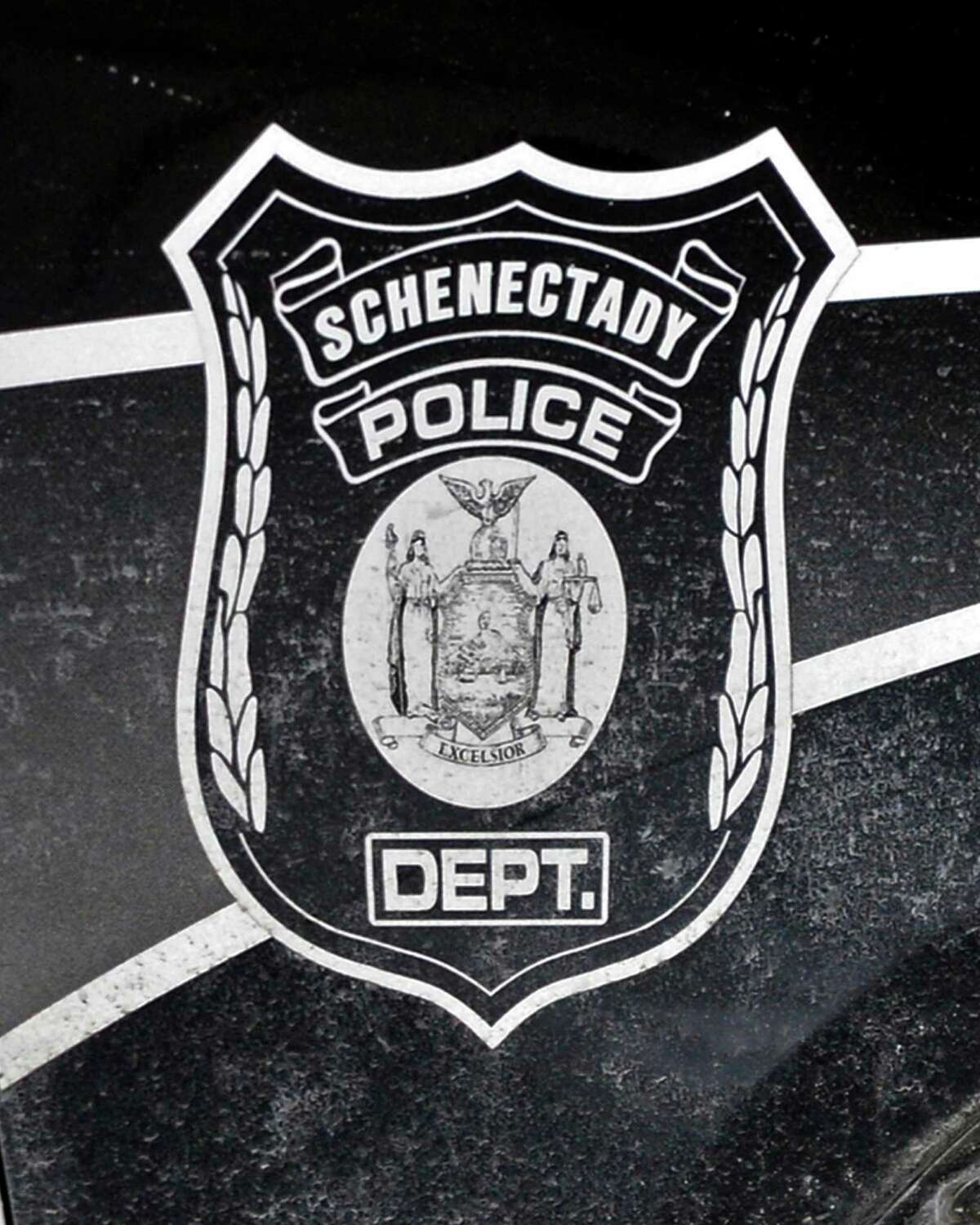 Emblem on a Schenectady city police car in Schenectady Wednesday Feb. 20, 2013. (John Carl D'Annibale / Times Union)