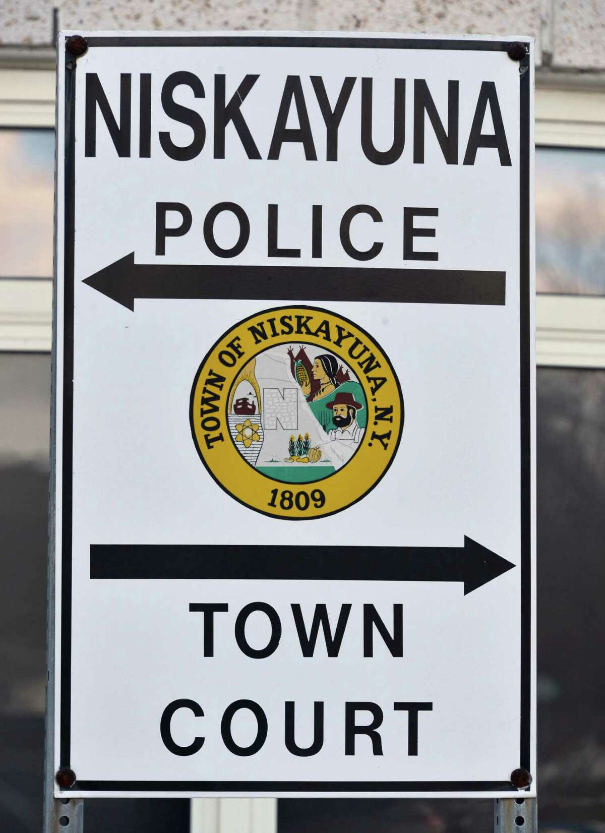 Sign for the Niskayuna police station Wednesday Feb. 20, 2013. (John Carl D'Annibale / Times Union)