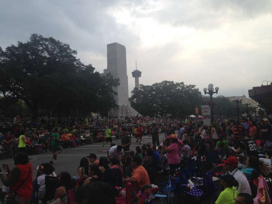 The crowd at the Fiesta Flambeau Parade on Saturday night, April 27, 2013.
