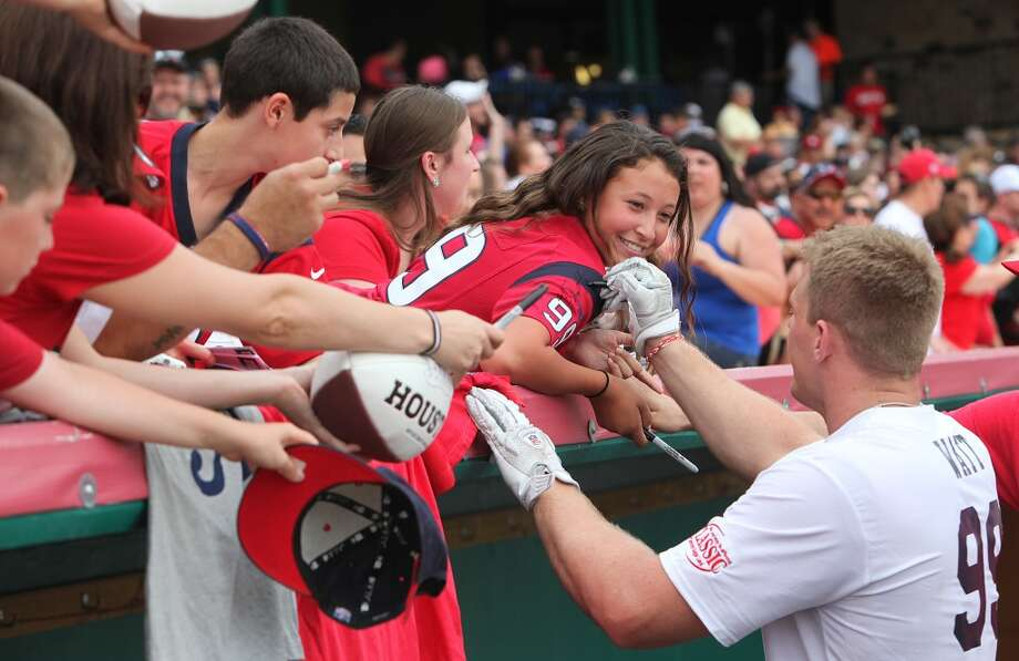 J.J. Watt signs autographs before The first J.J. Watt Charity Classic. Funds raised will benefit the Justin J Watt Foundation, whose mission is to provide after-school opportunities for children in the community to become involved in athletics, so that they may learn the basic character traits of accountability, teamwork, leadership, work ethic and perseverance while in a safe and supervised environment with their peers. ( Mayra Beltran / Houston Chronicle ) Photo: Mayra Beltran
