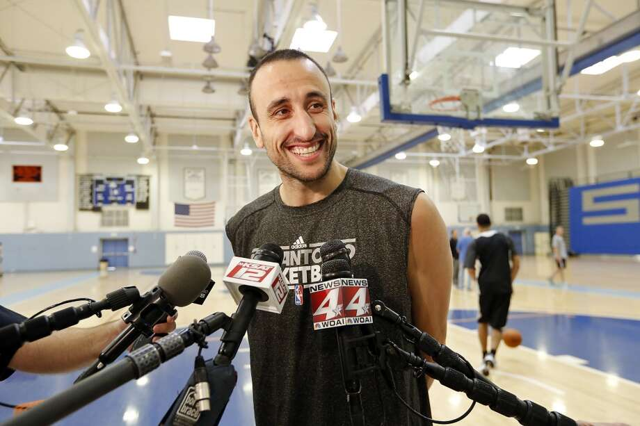 San Antonio Spurs' Manu Ginobili answers questions from the media during practice Saturday April 27, 2013 at Santa Monica College in Santa Monica, CA.
