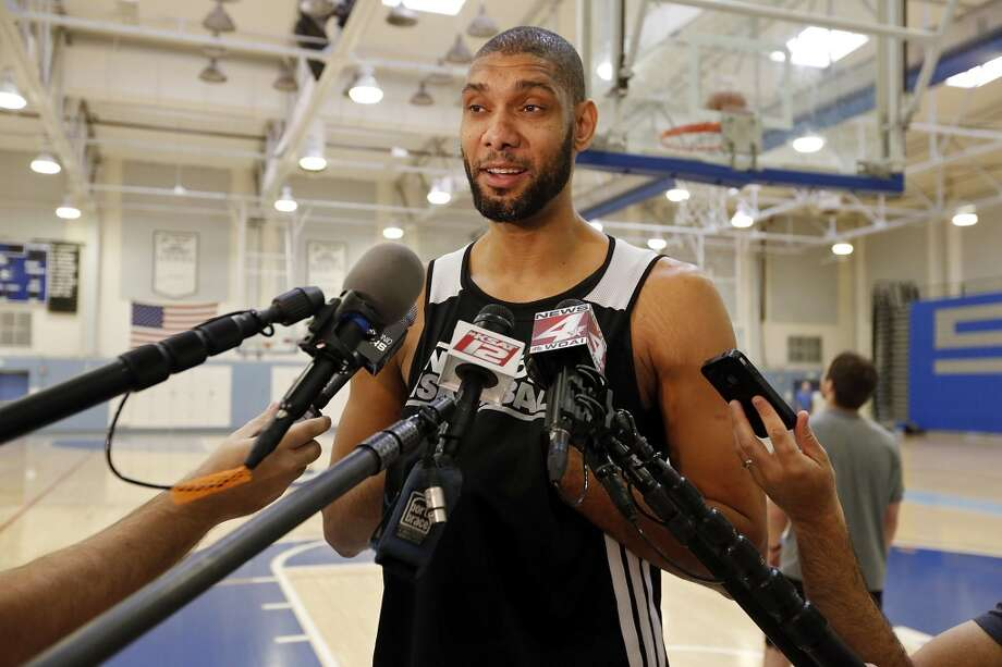 San Antonio Spurs' Tim Duncan answers questions from the media during practice Saturday April 27, 2013 at Santa Monica College in Santa Monica, CA.