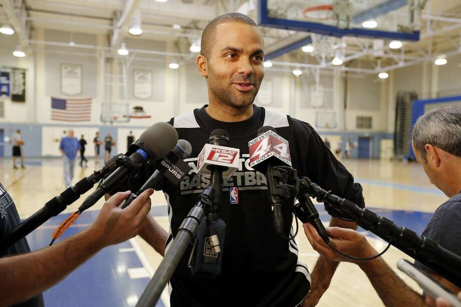 San Antonio Spurs' Tony Parker answers questions from the media during practice Saturday April 27, 2013 at Santa Monica College in Santa Monica, CA.
