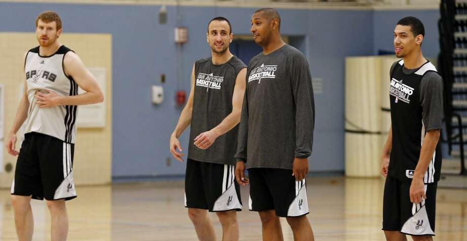 San Antonio Spurs' Matt Bonner (from left), Manu Ginobili, Boris Diaw, and Danny Green lineup during practice Saturday April 27, 2013 at Santa Monica College in Santa Monica, CA.