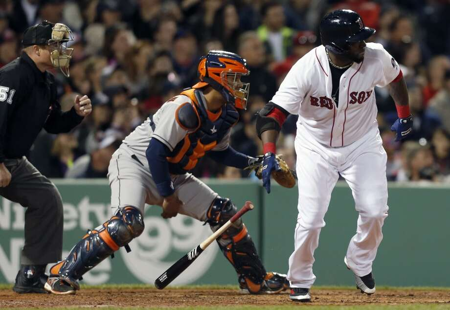 April 27: Red Sox 8, Astros 4David Ortiz, right, watches his two-run double in front of Astros catcher Carlos Corporan.
