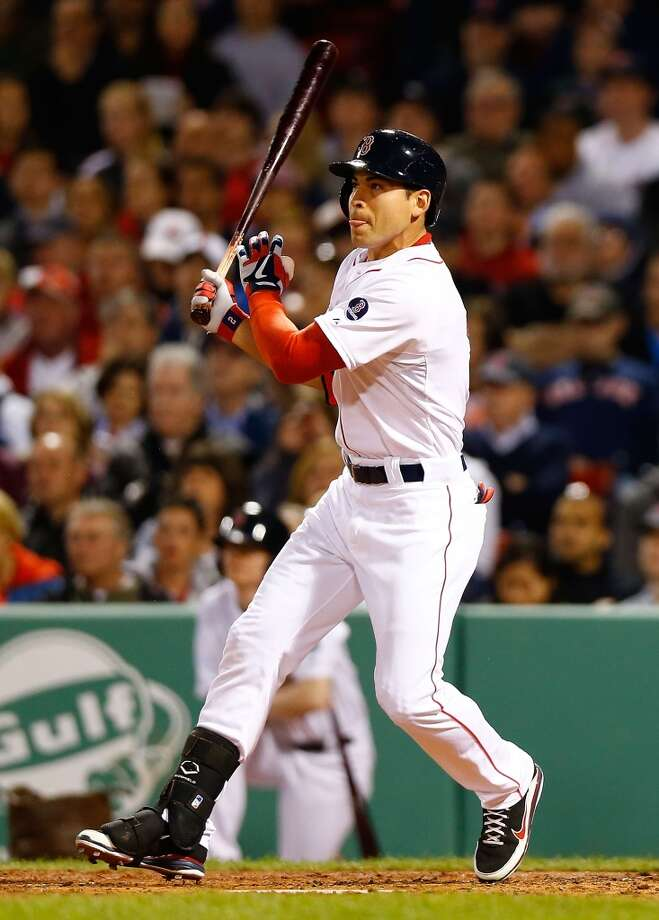 Jacoby Ellsbury #2 of the Red Sox hits a two-run double in the second inning.