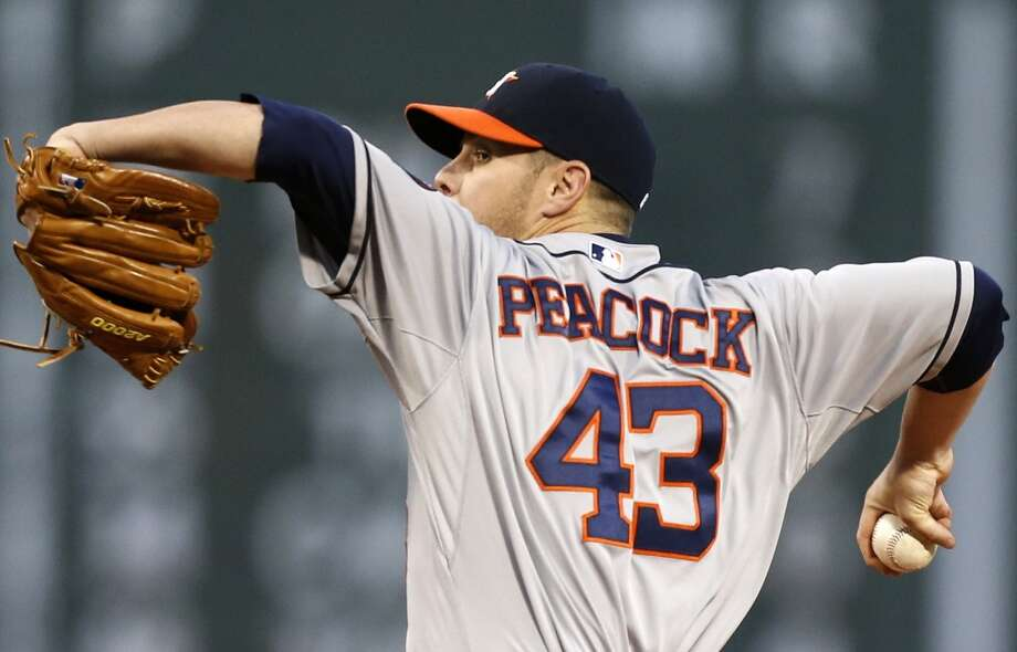 Brad Peacock pitches in the first inning. Photo: Michael Dwyer, Associated Press
