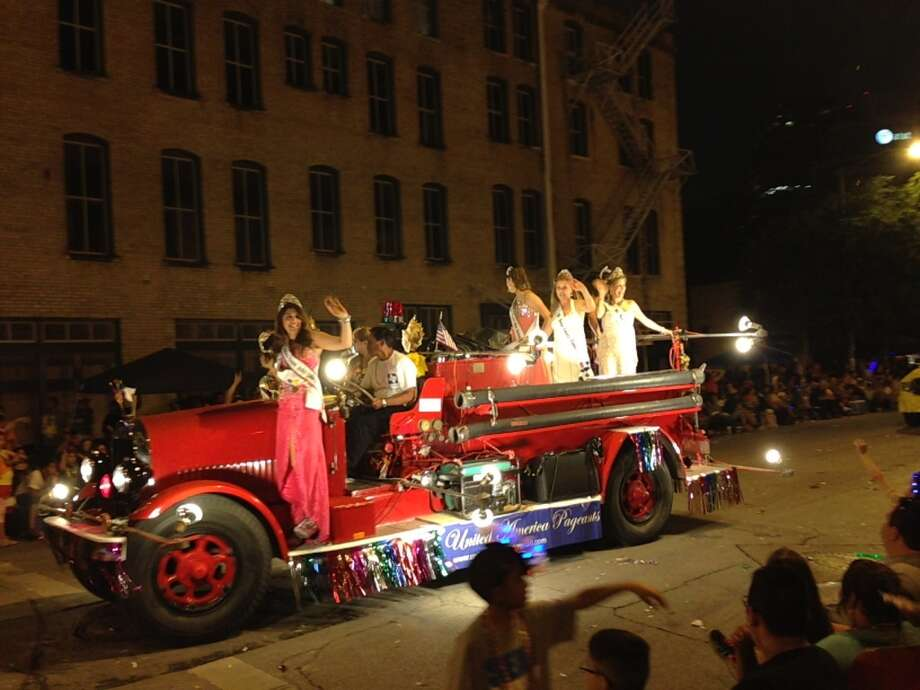 A float at the Fiesta Flambeau Parade on Saturday night, April 27, 2013.