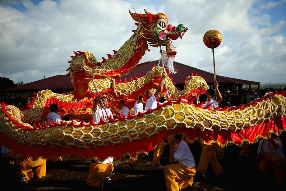 A Chinese dragon performs during the Taniwha and Dragon Festival at Orakei Marae on April 27, 2013 in Auckland, New Zealand. The celebrations bring together the New Zealand and Chinese cultures, sharing food, dance and music.  Photo: Phil Walter, Getty Images
