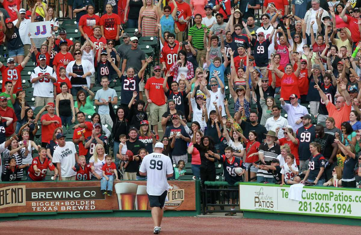 J.J. Watt attracts a full house to Constellation Field in Sugar Land on Saturday for the first J.J. Watt Charity Classic, which raised about $300,000 for his foundation. He took time to sign plenty of autographs.