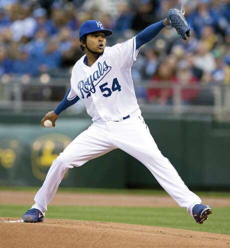 The Royals' Ervin Santana allowed six hits with five strikeouts in seven innings as he improved to 3-1. Photo: John Sleezer / Kansas City Star