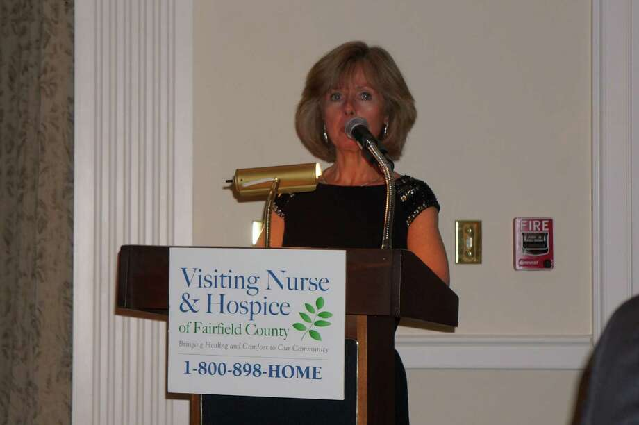 Sharon Bradley, President & CEO of VNH, speaking at the Tribute to Dave Brubeck Benefit Gala sponsored by Visiting Nurse & Hospice of Fairfield County at Woodway Country Club in Darien. 4/27/2013 Photo: Todd Tracy/ Hearst Connecticut Media Group
