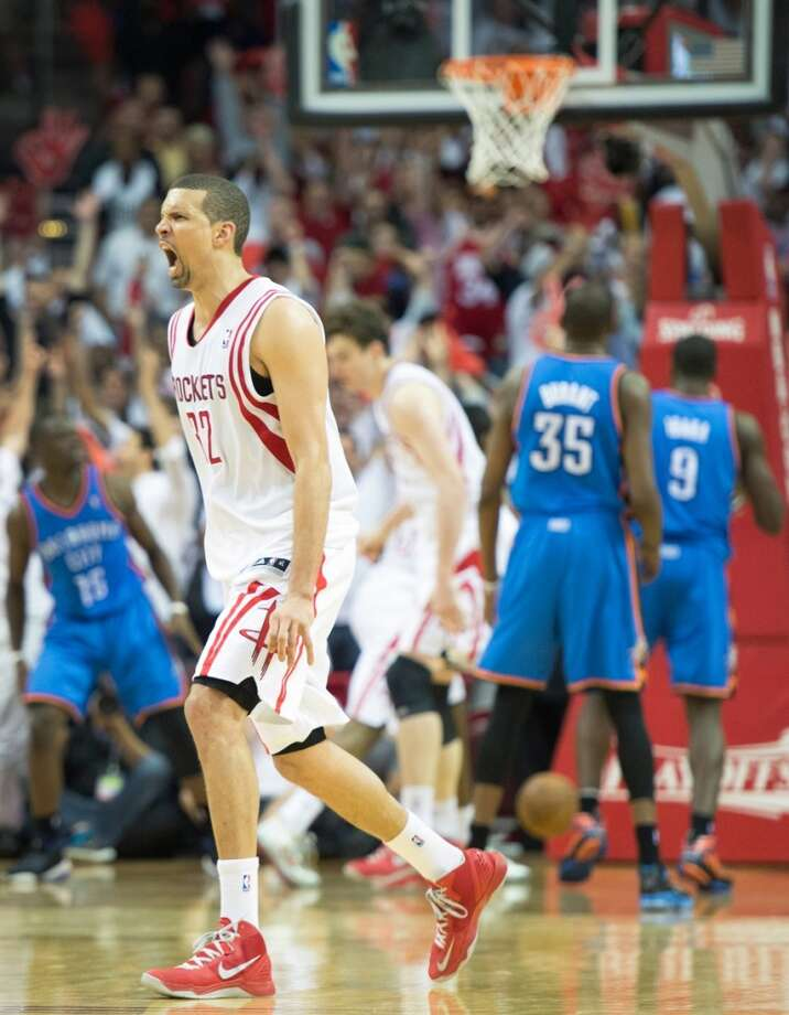 Rockets guard Francisco Garcia celebrates after hitting a 3-pointer to give the rockets a 99-97 lead. Photo: Smiley N. Pool, Houston Chronicle