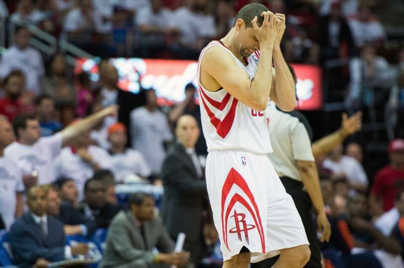 Houston Rockets guard Francisco Garcia reacts after a missed shot.