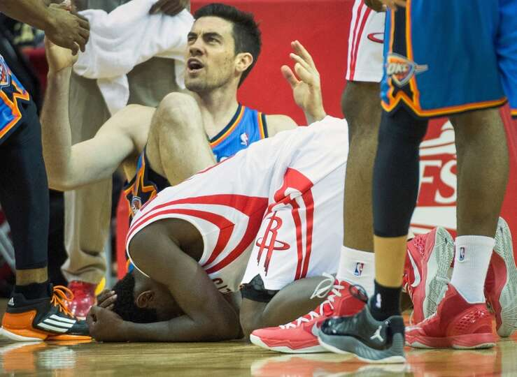 Rockets point guard Patrick Beverley reacts after being called for a foul on Thunder power forward N